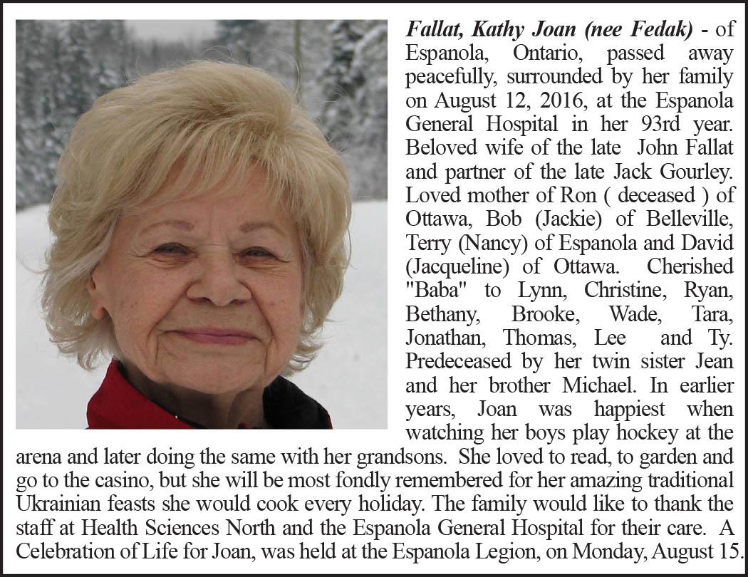 Obituary Fallat Kathy Joan Around And About