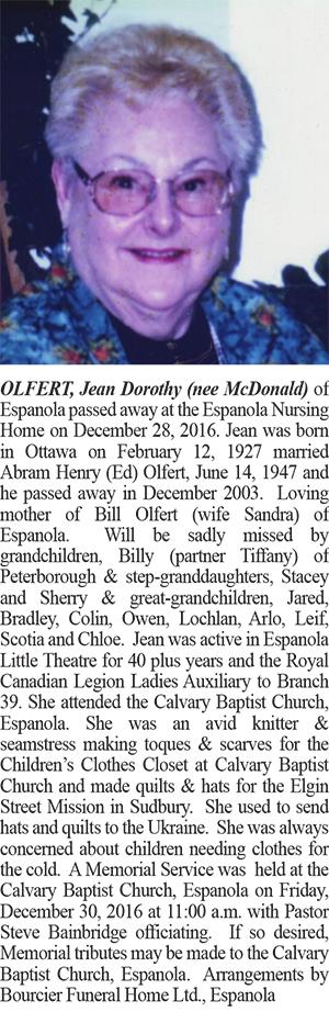 OLFERT, Jean Doroths Obituary Website Colour January 10-2016