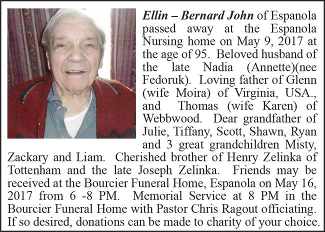 Obituary Ellin - Bernard John Colour May 23-2017