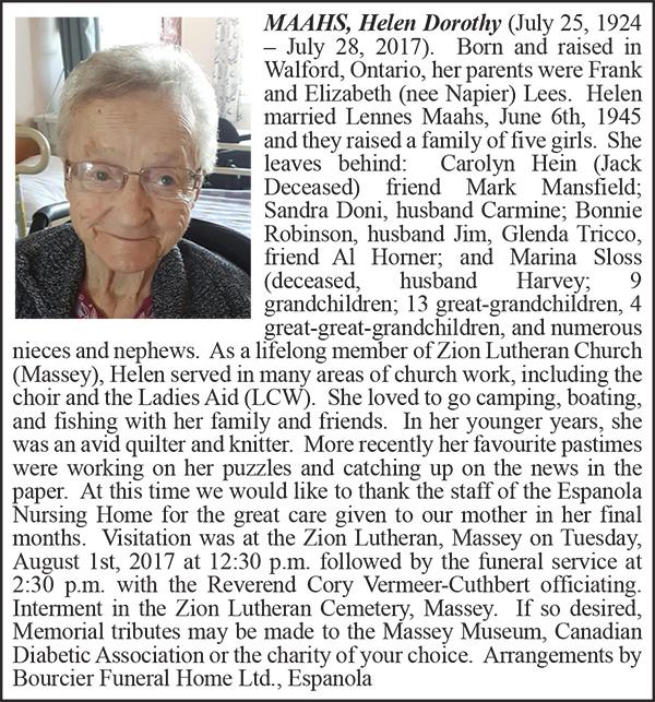 Obituary MAAHS, Helen Dorothy Colour August 8-2017